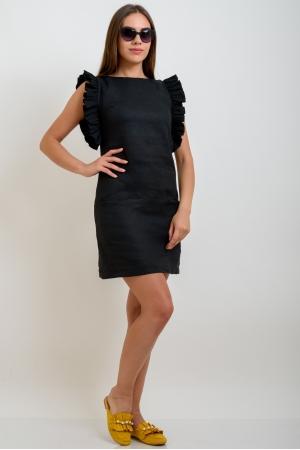 Прямое платье из льна черное