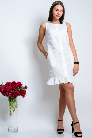 Платье из льна прямое с воланом белое
