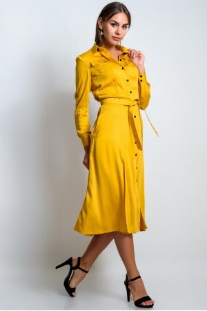 Удлиненное платье рубашка горчичного цвета