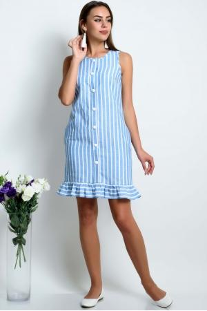 Платье из льна прямое в голубую полоску