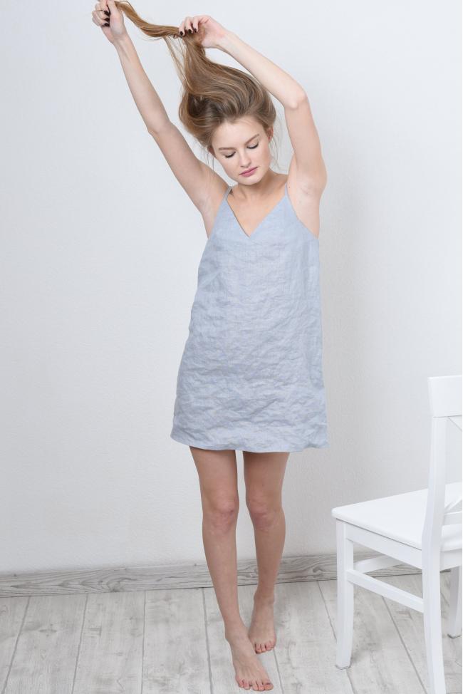 Мини платье комбинация из стиранного льна