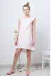 Платье удлиненное из льна в горошек