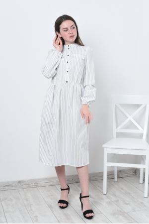 Платье льняное белое в узкую полоску